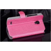 Текстурный чехол флип подставка на пластиковой основе с магнитной застежкой и внутренними карманами для Alcatel One Touch Pop 2 (5) Пурпурный
