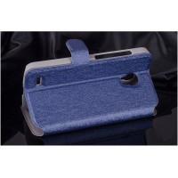 Текстурный чехол флип подставка на пластиковой основе с магнитной застежкой и внутренними карманами для Alcatel One Touch Pop 2 (5) Синий