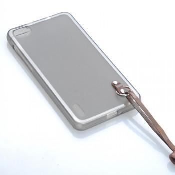 Силиконовый матовый полупрозрачный чехол с кожаным ремешком для Huawei P8