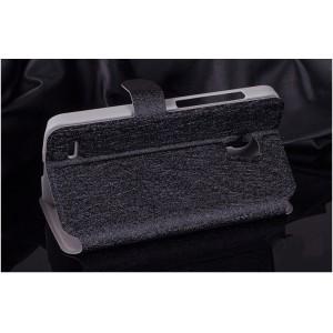 Текстурный чехол флип подставка на пластиковой основе с застежкой и внутренними карманами для Alcatel One Touch Pop 2 (5) Premium Черный