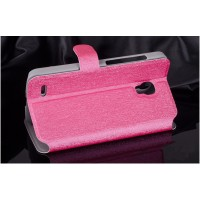Текстурный чехол флип подставка на пластиковой основе с застежкой и внутренними карманами для Alcatel One Touch Pop 2 (5) Premium Пурпурный