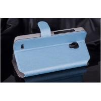 Текстурный чехол флип подставка на пластиковой основе с застежкой и внутренними карманами для Alcatel One Touch Pop 2 (5) Premium Голубой