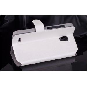 Текстурный чехол флип подставка на пластиковой основе с застежкой и внутренними карманами для Alcatel One Touch Pop 2 (5) Premium Белый