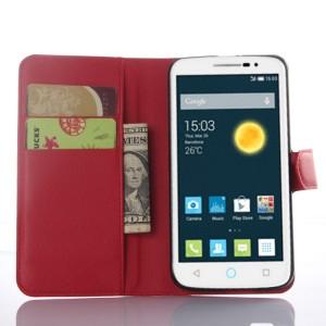 Чехол портмоне подставка на пластиковой основе с магнитной застежкой для Alcatel One Touch Pop 2 (5) Premium Красный