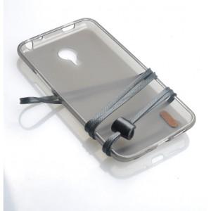 Силиконовый матовый полупрозрачный чехол с кожаным ремешком для Meizu M2 Note