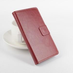 Чехол портмоне подставка на клеевой основе с магнитной застежкой для Highscreen Spider Коричневый