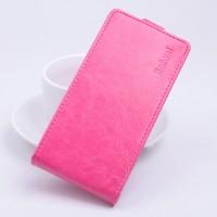 Чехол вертикальная книжка на клеевой основе с магнитной застежкой для Highscreen Spider Пурпурный