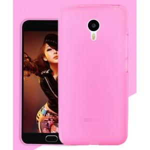 Силиконовый матовый полупрозрачный чехол для Meizu MX5 Розовый