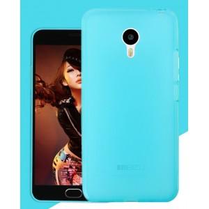 Силиконовый матовый полупрозрачный чехол для Meizu MX5 Голубой