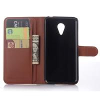 Чехол портмоне подставка с магнитной застежкой для Meizu MX5 Коричневый