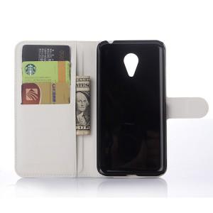 Чехол портмоне подставка с магнитной застежкой для Meizu MX5 Белый