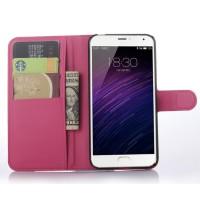 Чехол портмоне подставка с магнитной застежкой для Meizu MX5 Пурпурный