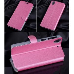 Текстурный чехол флип подставка на пластиковой основе с магнитной застежкой и внутренними карманами для HTC Desire 626/628 Розовый