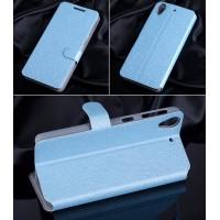 Текстурный чехол флип подставка на пластиковой основе с магнитной застежкой и внутренними карманами для HTC Desire 626/628 Голубой