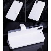 Текстурный чехол флип подставка на пластиковой основе с магнитной застежкой и внутренними карманами для HTC Desire 626/628 Белый
