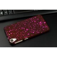 Пластиковый матовый непрозрачный чехол с голографическим принтом Звездная палитра для HTC Desire 626/628 Пурпурный