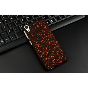 Пластиковый матовый непрозрачный чехол с голографическим принтом Звездная палитра для HTC Desire 626/628 Красный