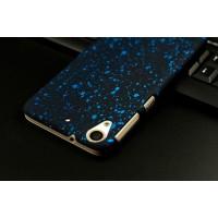 Пластиковый матовый непрозрачный чехол с голографическим принтом Звездная палитра для HTC Desire 626/628 Голубой