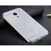 Двухкомпонентный чехол с металлическим бампером и поликарбонатной текстурной накладкой для Meizu MX5 Серый