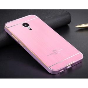 Двухкомпонентный чехол с металлическим бампером и поликарбонатной текстурной накладкой для Meizu MX5 Розовый