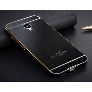 Двухкомпонентный чехол с металлическим бампером и поликарбонатной текстурной накладкой для Meizu MX5 Черный