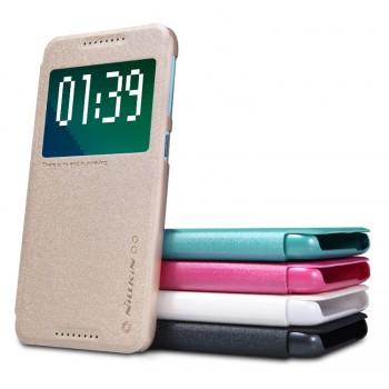 Текстурный чехол смарт флип на пластиковой нескользящей основе с окном вызова для HTC Desire 626/628