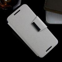 Текстурный чехол флип подставка с дизайнерской магнитной застежкой на силиконовой нескользящей основе HTC Desire 626/628 Белый