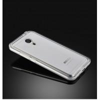 Двухкомпонентный экстразащитный чехол с металлическим бампером и матовой пластиковой полупрозрачной накладкой для Meizu MX5 Серый