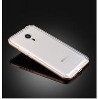 Двухкомпонентный экстразащитный чехол с металлическим бампером и матовой пластиковой полупрозрачной накладкой для Meizu MX5 Белый