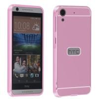 Двухкомпонентный чехол с металлическим бампером и поликарбонатной накладкой для HTC Desire 626/628 Розовый