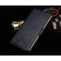 Кожаный чехол портмоне подставка (нат. кожа крокодила) для Meizu MX5 Черный