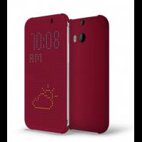 Точечный чехол смарт флип с функциями оповещения для HTC One M8 Бордовый
