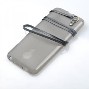 Силиконовый матовый полупрозрачный чехол с ремешком для Meizu MX5 Черный