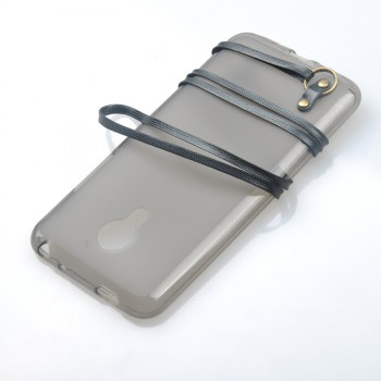 Силиконовый матовый полупрозрачный чехол с ремешком для Meizu MX5