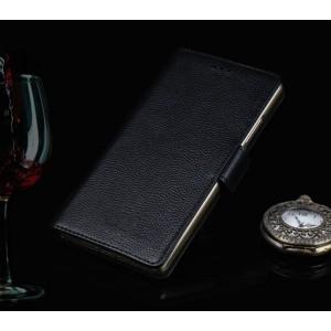 Кожаный чехол портмоне (нат. кожа) для LG G4 S Черный