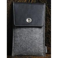Универсальный дизайнерский чехол-мешок войлок/кожа для Meizu MX5 Черный