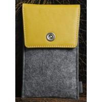 Универсальный дизайнерский чехол-мешок войлок/кожа для Meizu MX5 Желтый