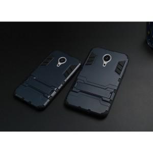 Антиударный гибридный силиконовый чехол с поликарбонатной крышкой и встроенной ножкой-подставкой для Meizu MX5 Синий
