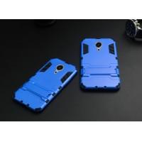 Антиударный гибридный силиконовый чехол с поликарбонатной крышкой и встроенной ножкой-подставкой для Meizu MX5 Голубой