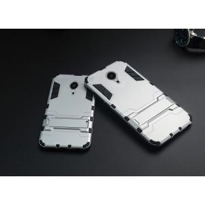 Антиударный гибридный силиконовый чехол с поликарбонатной крышкой и встроенной ножкой-подставкой для Meizu MX5