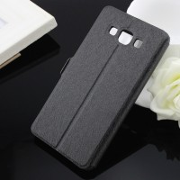 Текстурный чехол флип на пластиковой основе с окном вызова для Samsung Galaxy A7 Черный