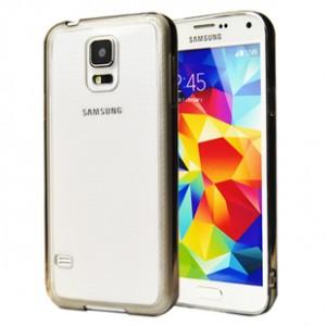 Двухкомпонентный гибридный чехол с силиконовым бампером и транспарентной глянцевой накладкой для Samsung Galaxy S5