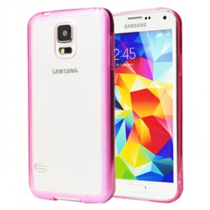 Двухкомпонентный гибридный чехол с силиконовым бампером и транспарентной матовой накладкой для Samsung Galaxy S5 Фиолетовый