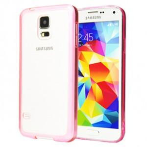 Двухкомпонентный гибридный чехол с силиконовым бампером и транспарентной матовой накладкой для Samsung Galaxy S5 Розовый