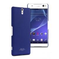 Пластиковый матовый чехол с повышенной шероховатостью для Sony Xperia C5 Ultra Синий
