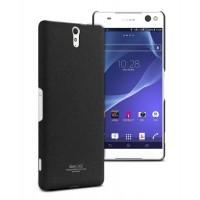 Пластиковый матовый чехол с повышенной шероховатостью для Sony Xperia C5 Ultra Черный