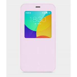 Чехол смарт флип с окном вызова для Meizu MX5 Бежевый