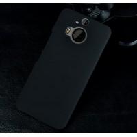Пластиковый матовый металлик чехол для HTC One M9+ Черный
