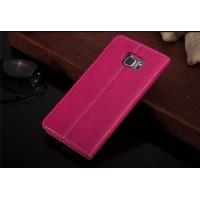 Кожаный прошитый чехол флип с отделением для карт для Samsung Galaxy S6 Edge Plus Пурпурный
