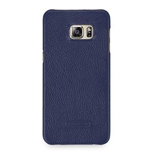 Кожаный чехол накладка (нат. кожа) серия Back Cover для Samsung Galaxy S6 Edge Plus Синий